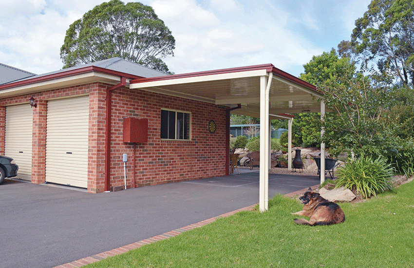 Attached flat carport using Stramit Sunset roof sheet