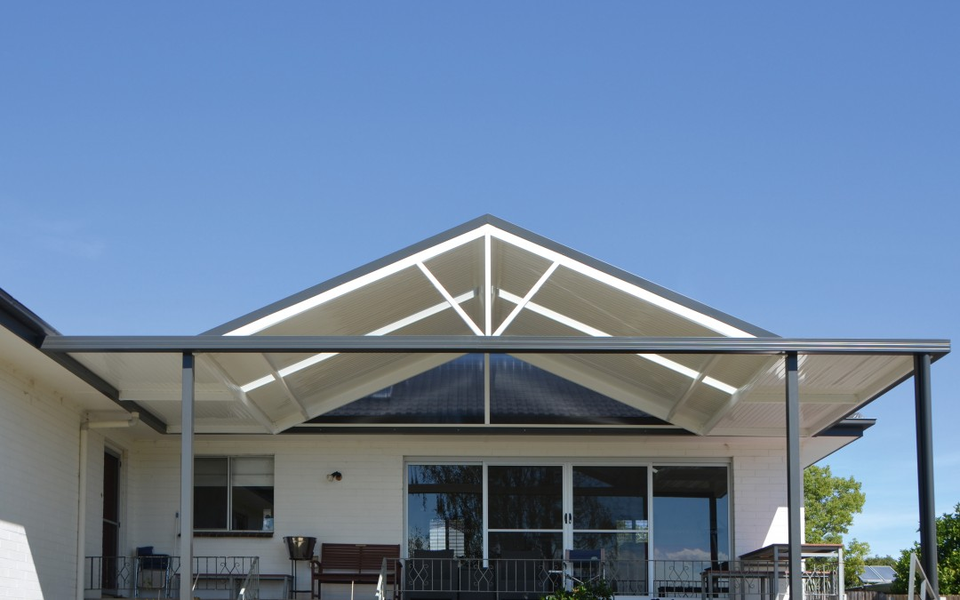 Verandah with Stramit Sunset roof sheeting, skylights and gable spokes