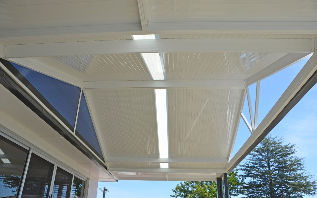 Attached combination roof awning with Monoclad roof sheeting