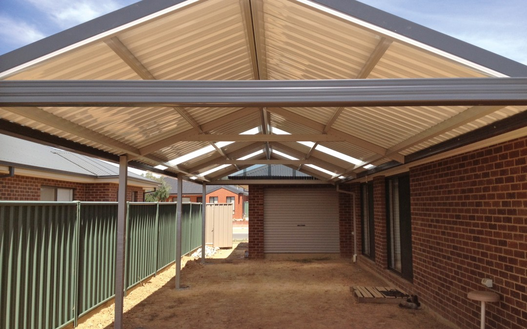 Gable roof patio with Monoclad roof sheeting