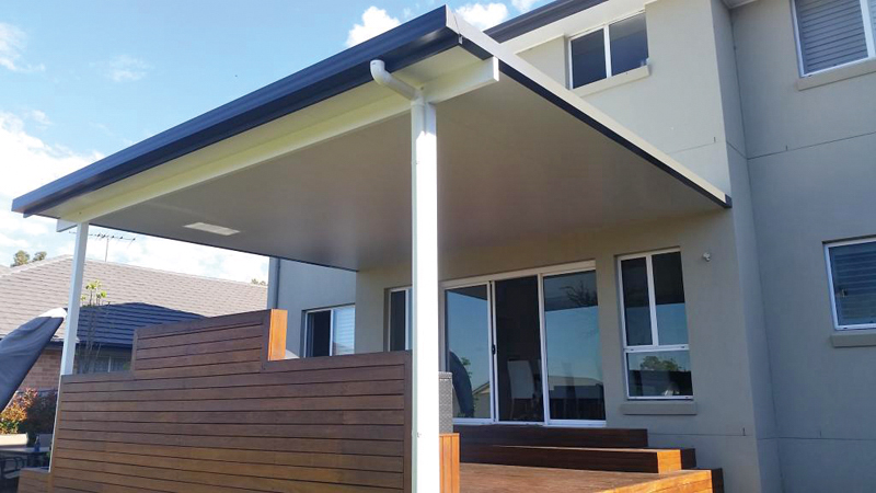 Insulated roof patio over entertainment area